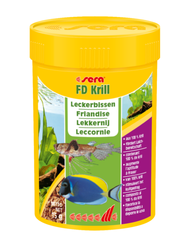 SERA - FD Krill - 15g - Friandise pour poissons d'eau de mer et d'eau douce