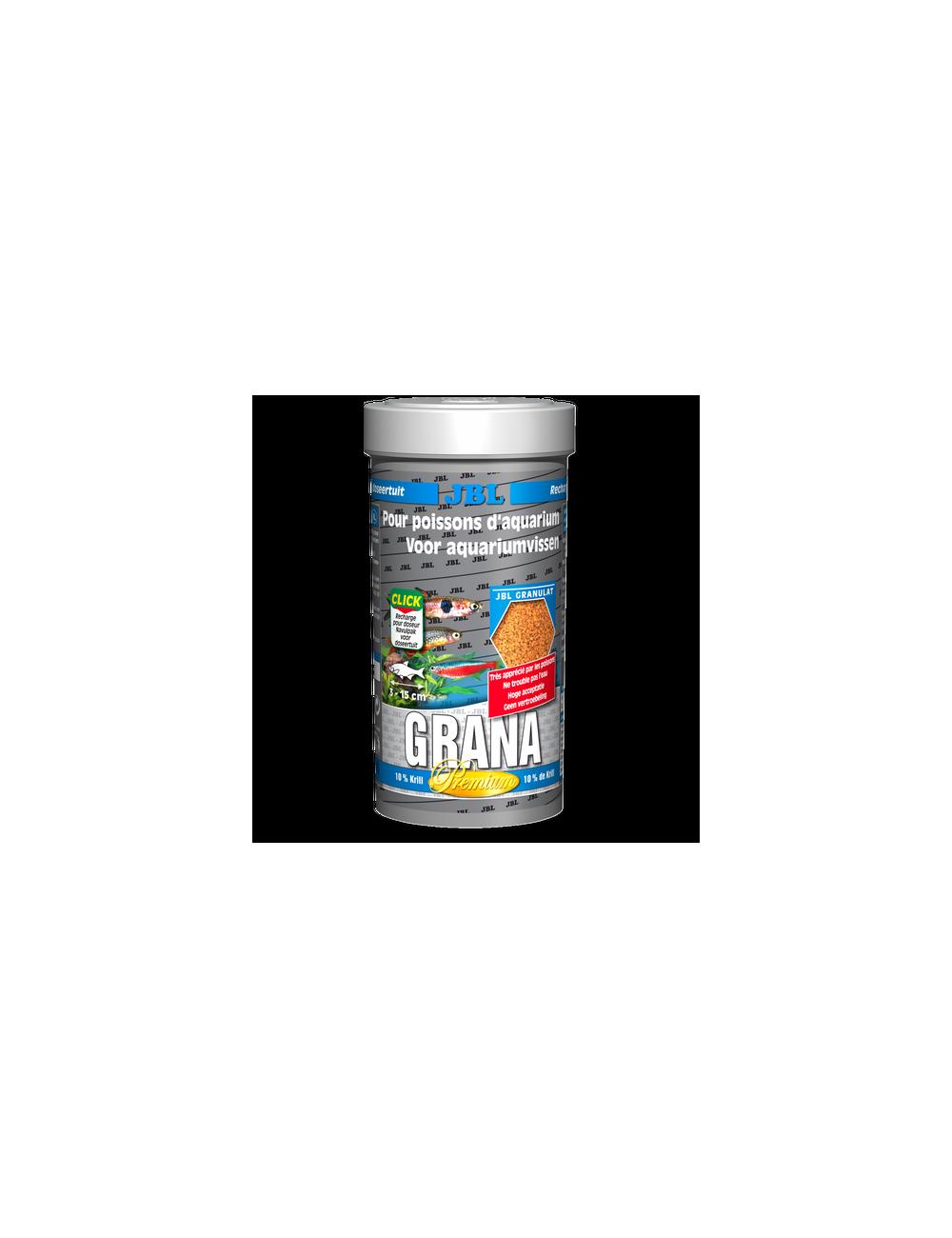 JBL - Grana - 250 ml - Aliment de base Premium en granulés pour petits poissons d'aquarium, avec doseur à clics