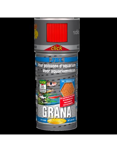 JBL - Grana CLICK - 250 ml - Aliment de base Premium en granulés pour petits poissons d'aquarium, avec doseur à clics