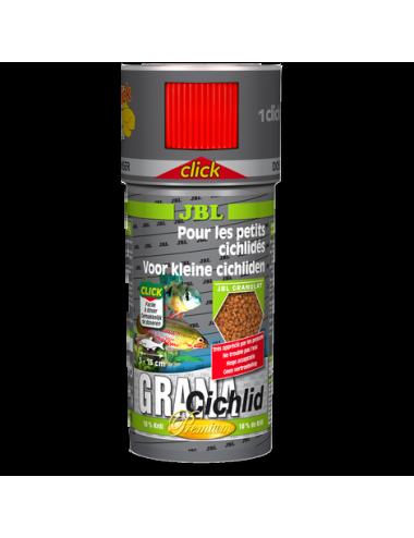 JBL - Grana Cichlid Click - 250 ml - Aliment de base Premium en granulés pour cichlidés prédateurs, avec doseur à clics