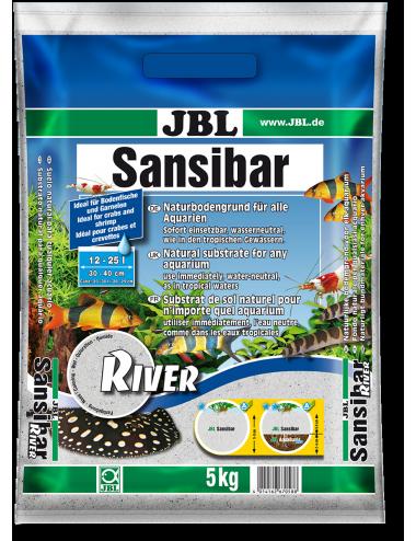 JBL - Sansibar RIVER 5kg - 0.8mm - Substrat de sol clair fin, parsemé de petites pierres noires pour aquariums