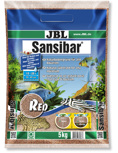 JBL - Sansibar RED 5kg - 0.2, 0.6mm - Substrat de sol fin couleur rouge pour aquariums