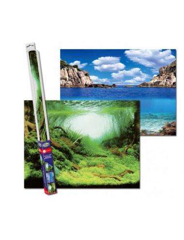 AQUA NOVA - Poster de fond Plantes/Océan - 100x50cm