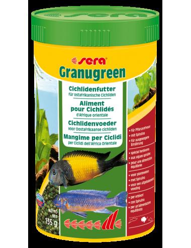 SERA - Granugreen 250ml - Aliment végétal pour les petits Cichlidés herbivores