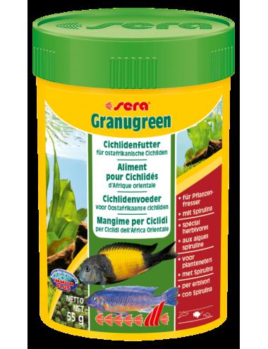 SERA - Granugreen 100ml - Aliment végétal pour les petits Cichlidés herbivores